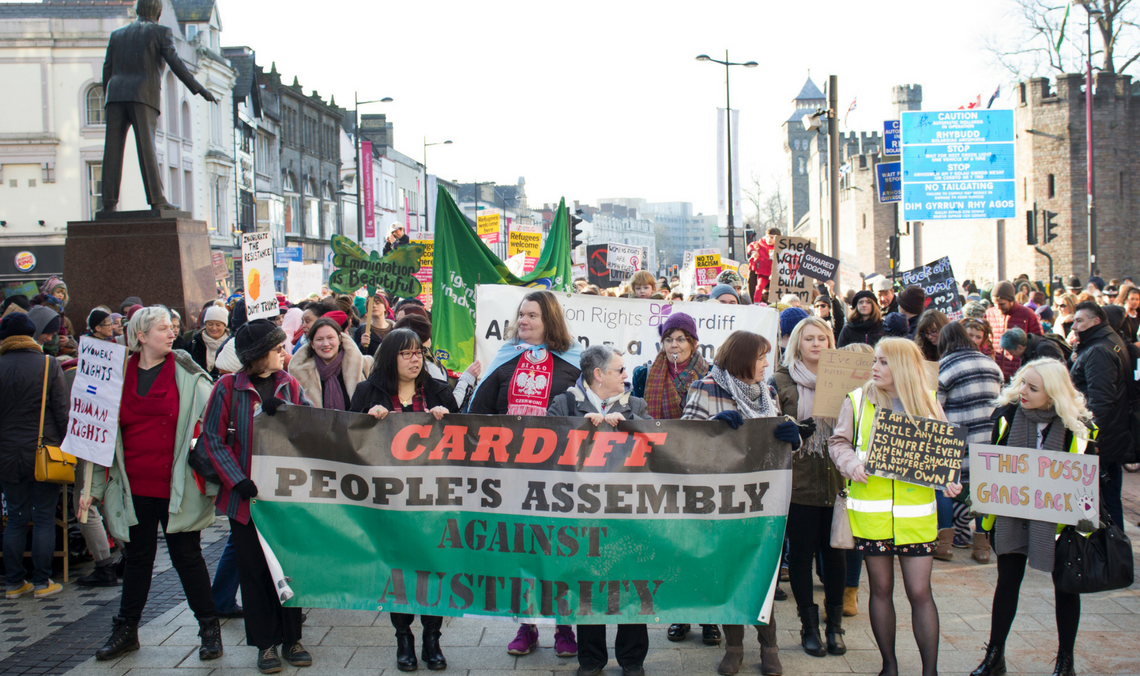 Cardiff Women March in Solidarity Against Trump's Presidency